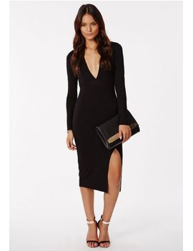 chelsi-jersey-side-split-midi-dress-black by missguided