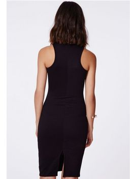 zara-ribbed-racer-midi-dress-black by missguided