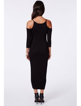 markina-double-layer-racer-cold-shoulder-midi-dress by missguided