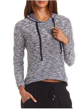 sheer-slub-knit-high-low-hoodie by charlotte-russe