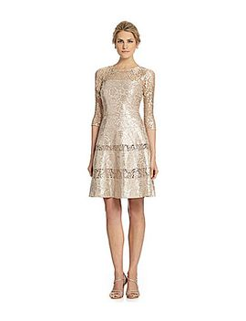 kay-unger-metallic-lace-fit-and-flare-dress by generic