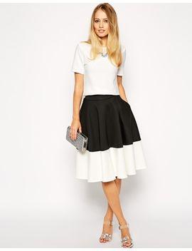 asos-color-block-midi-skirt-in-scuba by asos-collection