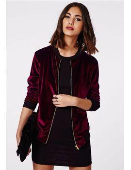 abiline-velvet-bomber-jacket-burgundy by missguided
