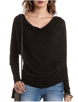 zipper-shoulder-cowl-top by charlotte-russe