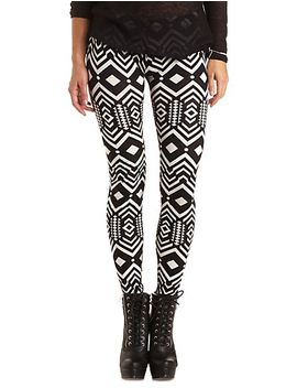 cotton-geometric-print-leggings by charlotte-russe