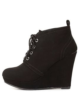 bamboo-lace-up-platform-wedge-booties by charlotte-russe