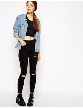 asos-ridley-skinny-ankle-grazer-jeans-in-clean-black-with-thigh-rips-and-busted-knees by asos-collection