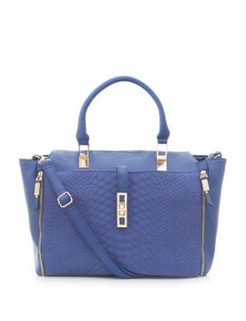 blue-snakeskin-front-zip-side-tote-bag by new-look
