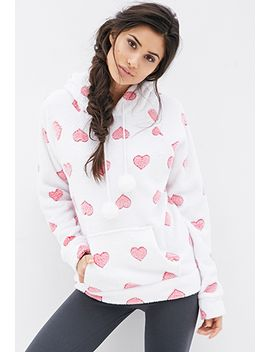 hooded-heart-print-sweatshirt by forever-21