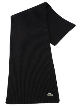 black-plain-wool-scarf-by-lacoste by lacoste