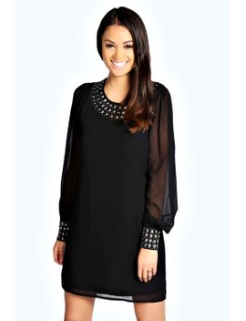lilly-embellished-cuff-and-neck-shift-dress by boohoo