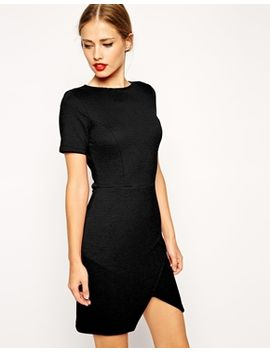 asos-rib-stepped-hem-dress-with-zip-detail by asos-collection
