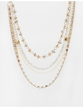 river-island-spike-and-pearl-multirow-short-necklace by river-island