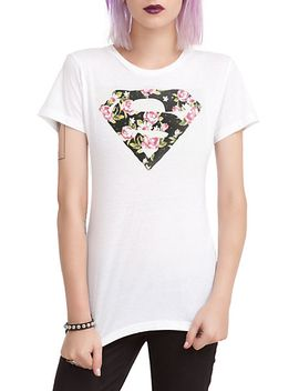 dc-comics-superman-floral-logo-girls-t-shirt by hot-topic