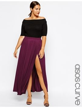 asos-curve-exclusive-maxi-skirt-with-split by asos-curve