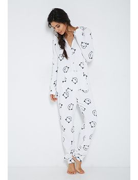cat-graphic-sleep-romper by forever-21