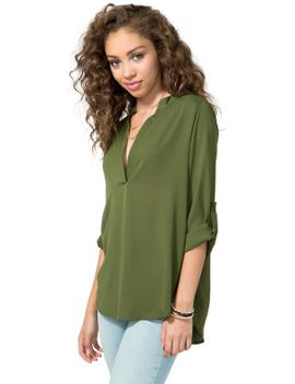 v-neck-rolled-sleeve-tunic by agaci