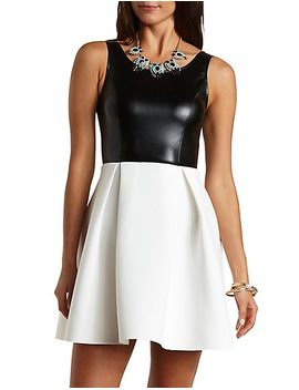 faux-leather-skater-dress by charlotte-russe
