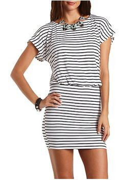 striped-blouson-t-shirt-dress by charlotte-russe
