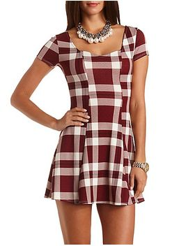textured-plaid-skater-dress by charlotte-russe