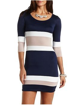 striped-scuba-knit-bodycon-dress by charlotte-russe