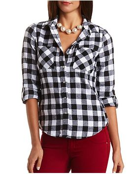 plaid-flannel-button-up-top by charlotte-russe