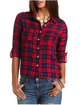 high-low-button-up-plaid-top by charlotte-russe