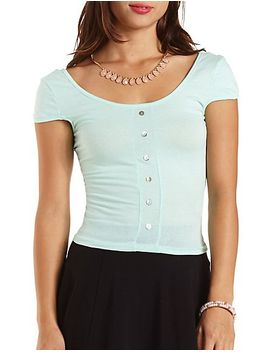 button-up-cap-sleeve-crop-top by charlotte-russe