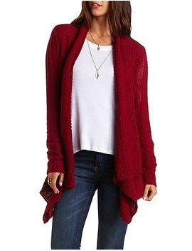 textured-knit-cascade-cardigan by charlotte-russe
