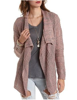 mixed-stitch-cascade-cardigan-sweater by charlotte-russe