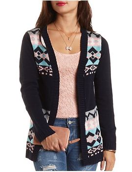 geometric-open-front-cardigan by charlotte-russe