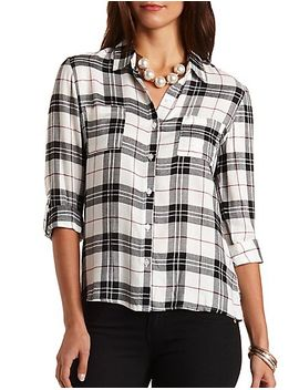 plaid-button-up-top by charlotte-russe