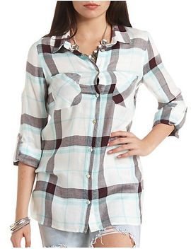 button-up-plaid-tunic-top by charlotte-russe