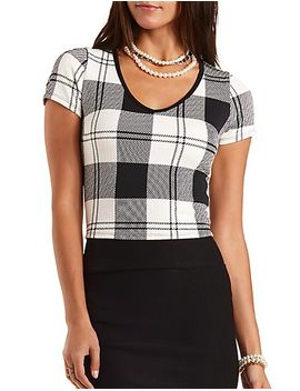 textured-plaid-crop-top by charlotte-russe