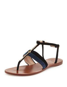 bar-suede-logo-thong-sandal,-black by tory-burch