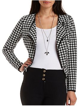 zipper-trim-printed-moto-blazer by charlotte-russe