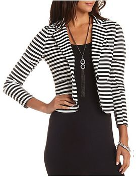 striped-long-sleeve-blazer by charlotte-russe