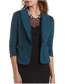 three-quarter-sleeve-knit-single-button-blazer by charlotte-russe