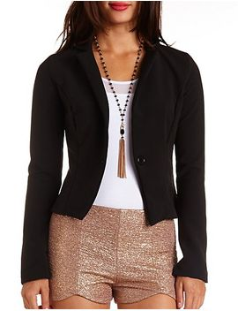 cropped-single-button-blazer by charlotte-russe