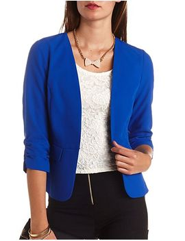 collarless-hook-and-eye-front-blazer by charlotte-russe
