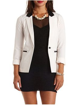 faux-leather-accented-tuxedo-blazer by charlotte-russe
