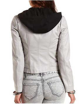 hooded-faux-leather-moto-jacket by charlotte-russe