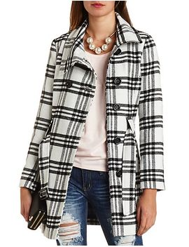 funnel-neck-plaid-trench-coat by charlotte-russe