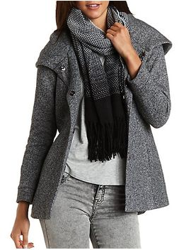 belted-&-hooded-fleece-coat by charlotte-russe