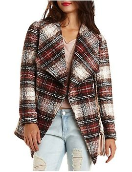 belted-plaid-wrap-coat by charlotte-russe