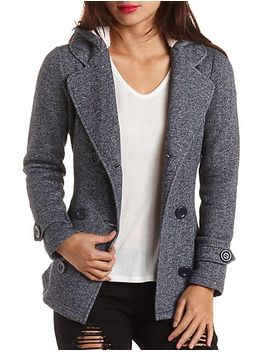 hooded-fleece-pea-coat by charlotte-russe