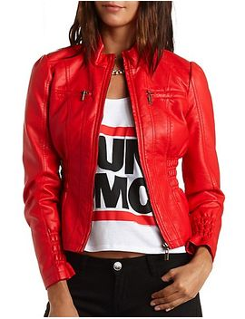 faux-leather-moto-jacket by charlotte-russe