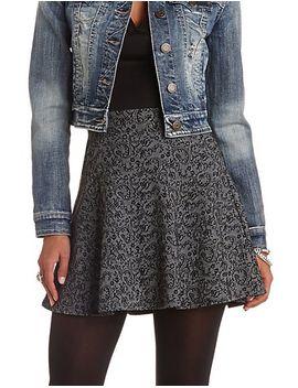 high-waisted-jacquard-skater-skirt by charlotte-russe