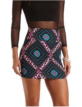 tile-print-bodycon-mini-skirt by charlotte-russe