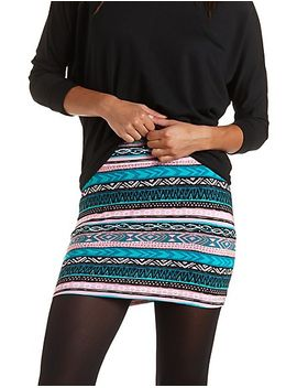 tribal-print-bodycon-mini-skirt by charlotte-russe